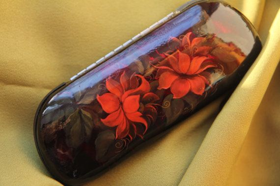 Red glasses case red flowers russian lacquer box Zhostovo Spectacle case red…