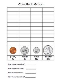 Coin Grab: fill a little cloth bag with an assortment of coins (you could also fill a paper lunch bag or little purse). Students take turns pull out a coin and graph it on their sheet. They do not grab a whole handful of coins at once-this is important to explain. Once they reach the top of their graph with one of the coins, the child stops and records how many of each coin they had on the bottom of the recording sheet.