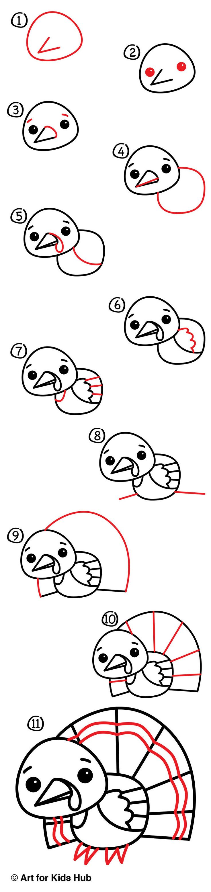 How To Draw A Cartoon Turkey  Art For Kids Hub