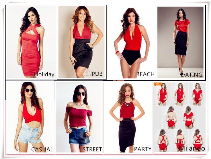 Rosso sexy top elastico per donna.