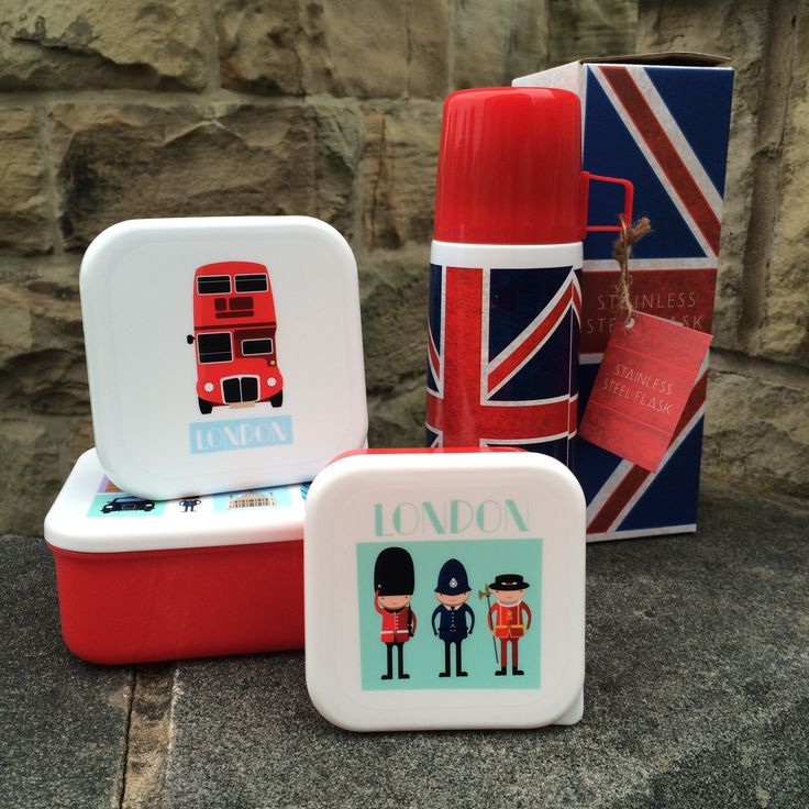 Designové termosky a plastové krabičky na svačinky pro milovníky Londýna a Anglie #London #LondonIcons #lunchbox #flask #UnionJack #giftideas