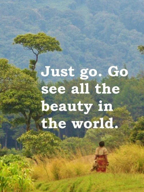 """Just Go. Go See All The Beauty in The World"""