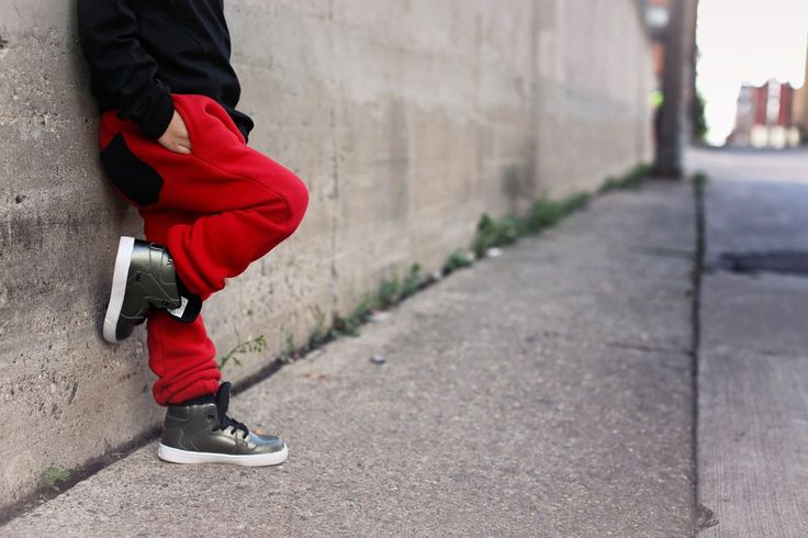 Red Athletic Drop-Crotch Joggers