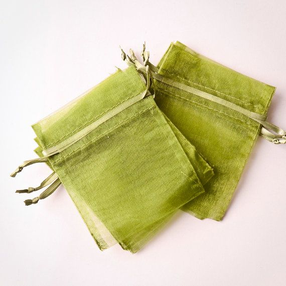 100 Organza Bags (3x4 inch) Moss Green for $15.00 (for bird seed)