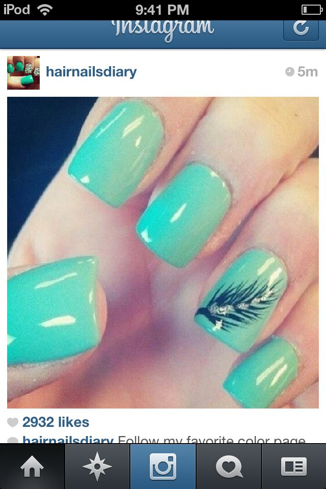 Teal nails with feather