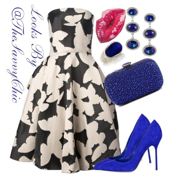Blue Chic... #Floral #Dress by @LANVIN Paris via @Farfetch #Colbalt #Pumps by @sergiorossiofficial via @ModeWalk.com #Clutch by @Urban Expressions via @DSW Designer Shoe Warehouse #Earrings by @kennethjaylane via @THE OUTNET.COM #Ring by #JoolsSaralise via @PRET-A-BEAUTE.COM