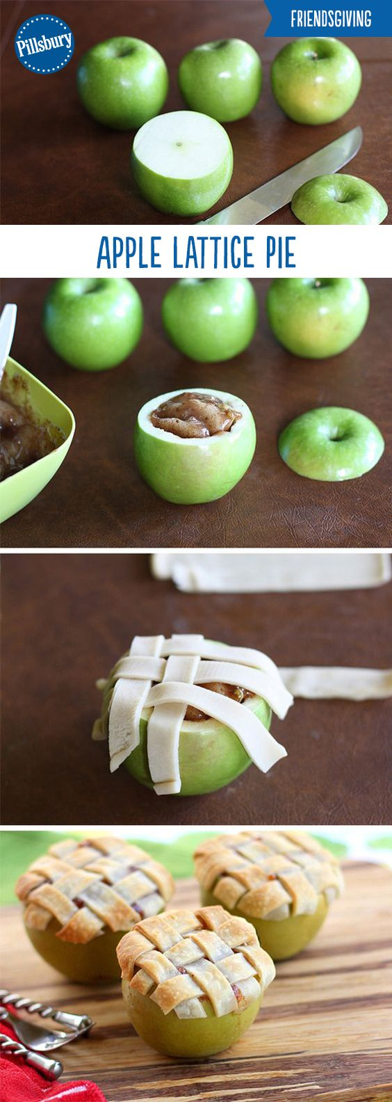 Your friends will give you creativity props for bringing this Apple Lattice Pie Baked in an Apple to your Friendsgiving! It's super easy, impressive and it's a guaranteed hit this holiday season. Delicious apples filled with apple pie filling and topped with pie crust is a fun treat everyone will enjoy!