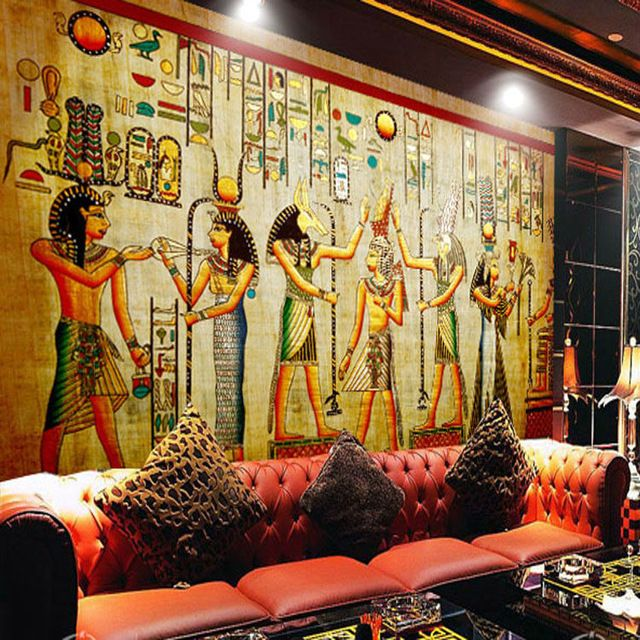 Egyptian wall painting vintage photo wallpaper custom 3d for Egyptian mural wallpaper