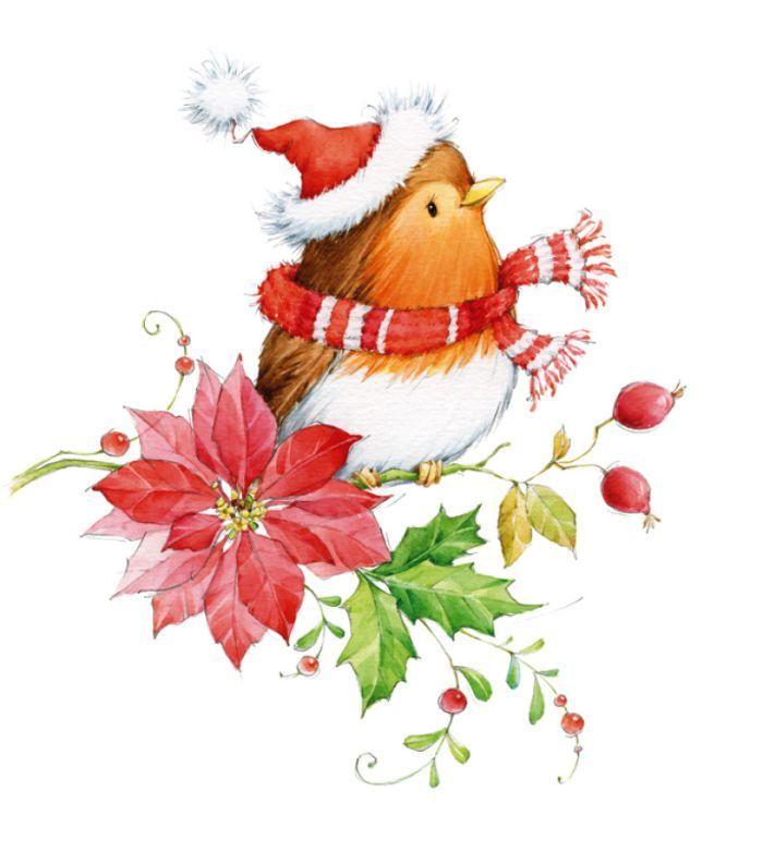 Новогодние акварельные картинки для скрапбукинга, открытки
