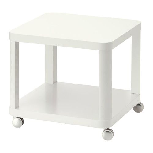 IKEA TINGBY Side table on castors White 50x50 cm Separate shelf for magazines, etc. helps you keep your things organised and the table top clear.