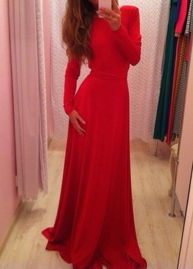 Elegant Long Sleeve Round Neck Backless Maxi Dress (2 colors)