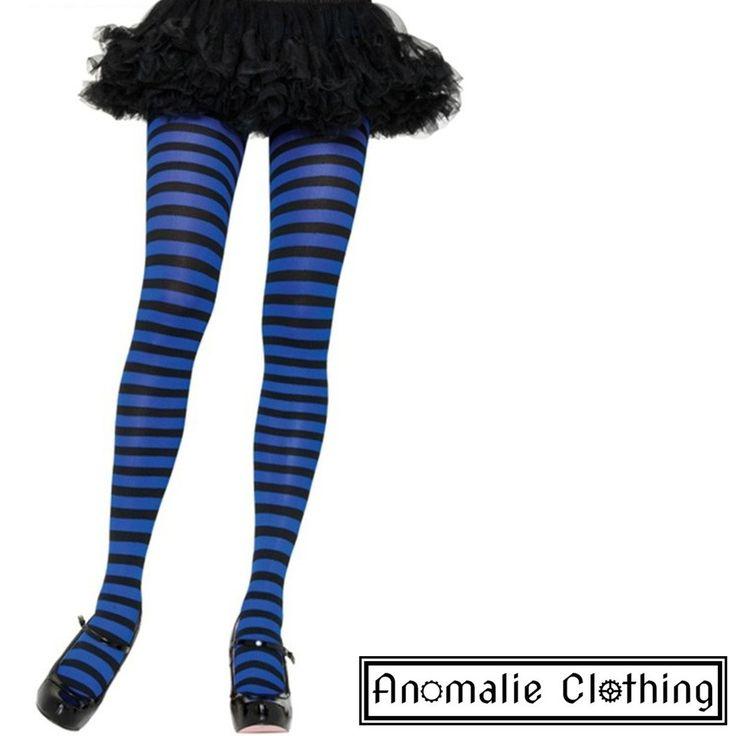 Royal Blue & Black Striped Tights