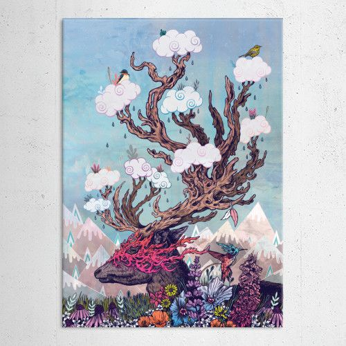 """Deer"" metal poster by Mat Miller #animal"