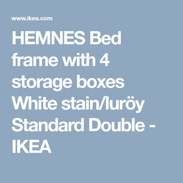 HEMNES Bed frame with 4 storage boxes White stain/luröy Standard Double - IKEA