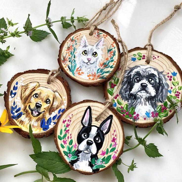Pet Portrait Ornament Custom Pet Ornament Custom Wooden