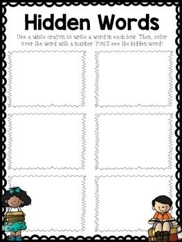 """Are you looking for a new way for your students to practice their sight words/word wall words during Daily 5 time? My students are loving this """"hidden words"""" practice! It's simple: the students write a word wall word in the box using a white crayon, then they color over the word with a marker."""
