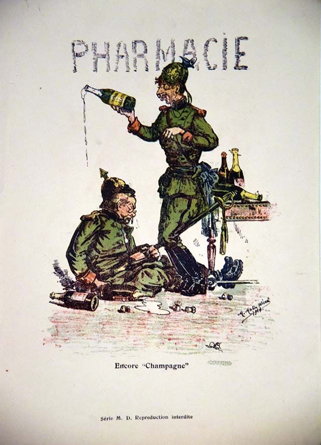 """MARTIN WICART M.Encore """" Champagne"""" PharmacieA l'invasion de Reims par les Allemands en 1914,le Champagne a joué un rôle important en rendant ivres de nombreux soldats incapables de se battre../ At the invasion of Reims by the Germans in 1914, Champagne played an important role in making drunken many soldiers unable to fight. M.D. Imp. 1914 1 Affiche Non-Entoilée / Vintage Poster not lined T.B.E. A - 38,5 x 27,5#art #auction #poster #affiche #print #paper #papier"""