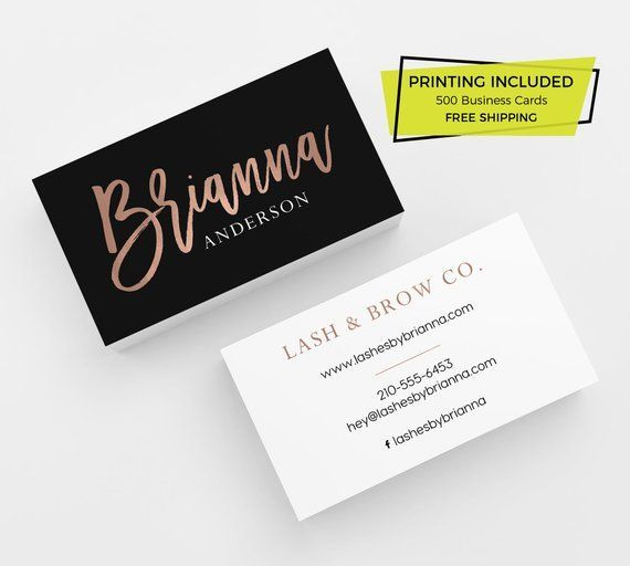 Black Rose Gold Faux Foil 500 Business Cards Printed Business Card Template Personalized Calling Card Lipsense Makeup Hair Lash Brow Nails Printing Business Cards Faux Foil Business Card Template