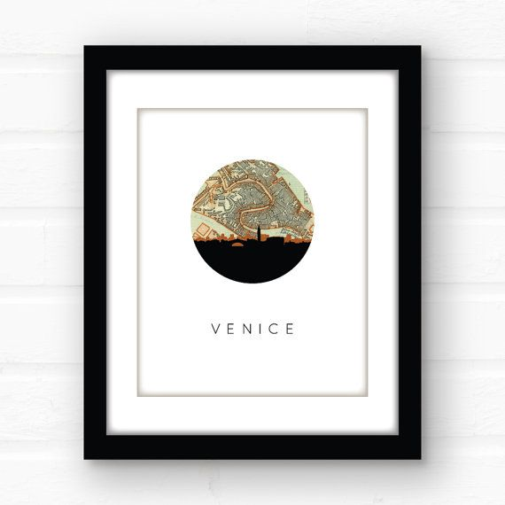 Venice map print  Venice Italy map art  Venice by PaperFinchDesign