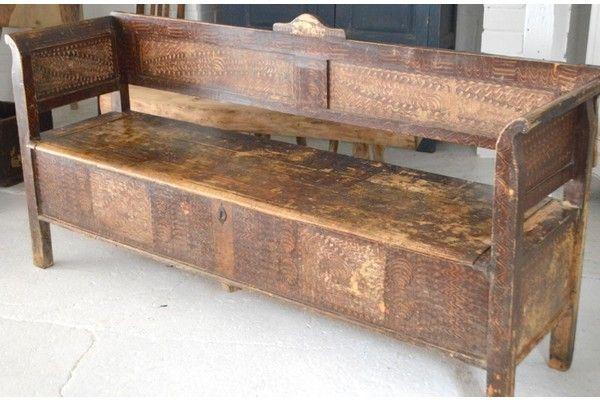 19th Century French Original Painted Bench | Vinterior London  #vintage #antique #interiors #design #home #rustic