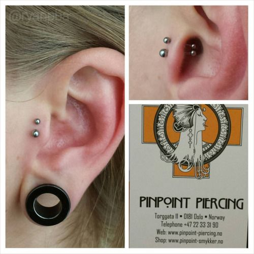 Different anatomy can make for fun piercings like this double Tragus piercing by Ryan Ouelette of Precision Body Arts. Jewelry by NeoMetal.