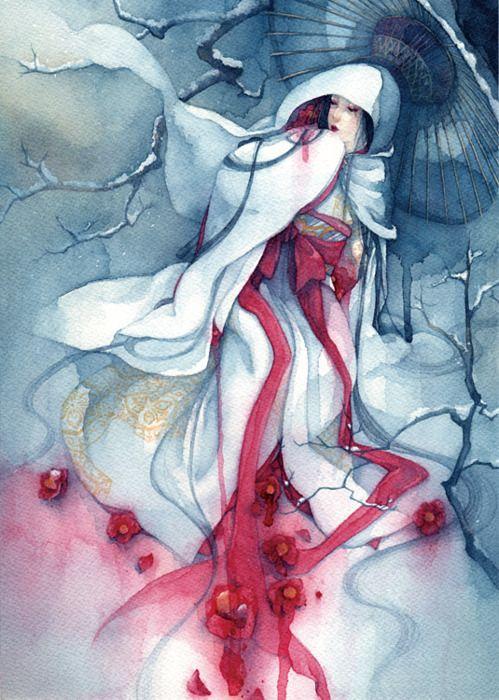 Yuki-Onna (littéralement femme des neiges) est un personnage du folklore qui est souvent confondu à tort avec Yama-Uba. Yuki-Onna est décrite comme une belle femme, grande avec de longs cheveux sombres et une peau inhumainement blanche, quasiment transparente. Elle porte un kimono blanc, bien que certaines légendes la décrivent comme étant nue. Malgré sa grande beauté, ses yeux frappent de terreur.