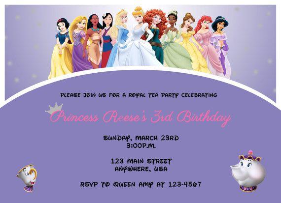 Printable Disney princess tea party birthday invitation on Etsy, $12.00