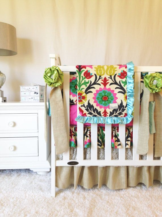 Santa Maria Baby Bedding, Lace and Burlap Bedding, Fancy Custom Crib Bedding, 3 or 4 Piece Set, Fancy Floral & Lace, Baby Girl Crib Bedding