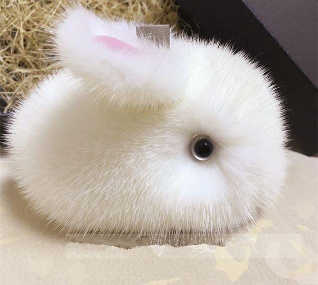 2017 реального норки кролик брелок симпатичные белый помпон девушка мех брелок сумки кроликов брелки автомобилей брелки keychian кролики мех зайца