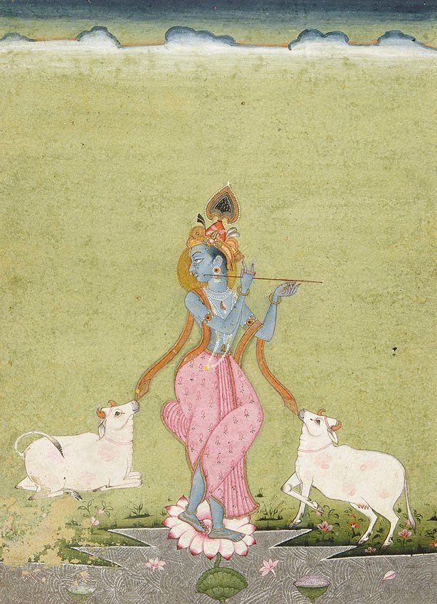 Krishna as the divine cowherd (orange border) Bikaner, Rajasthan, India  1820