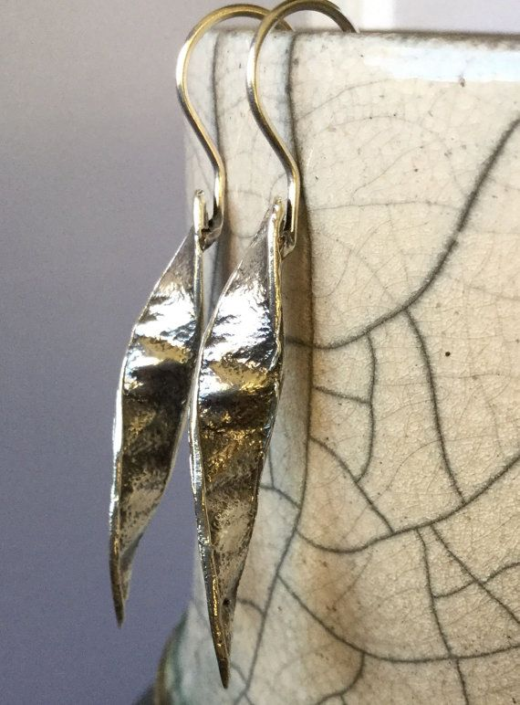 Sterling Silver, Spiral, Spanish Broom, Seed Pod on Fixed Shepherd's Hook, Earrings, Small