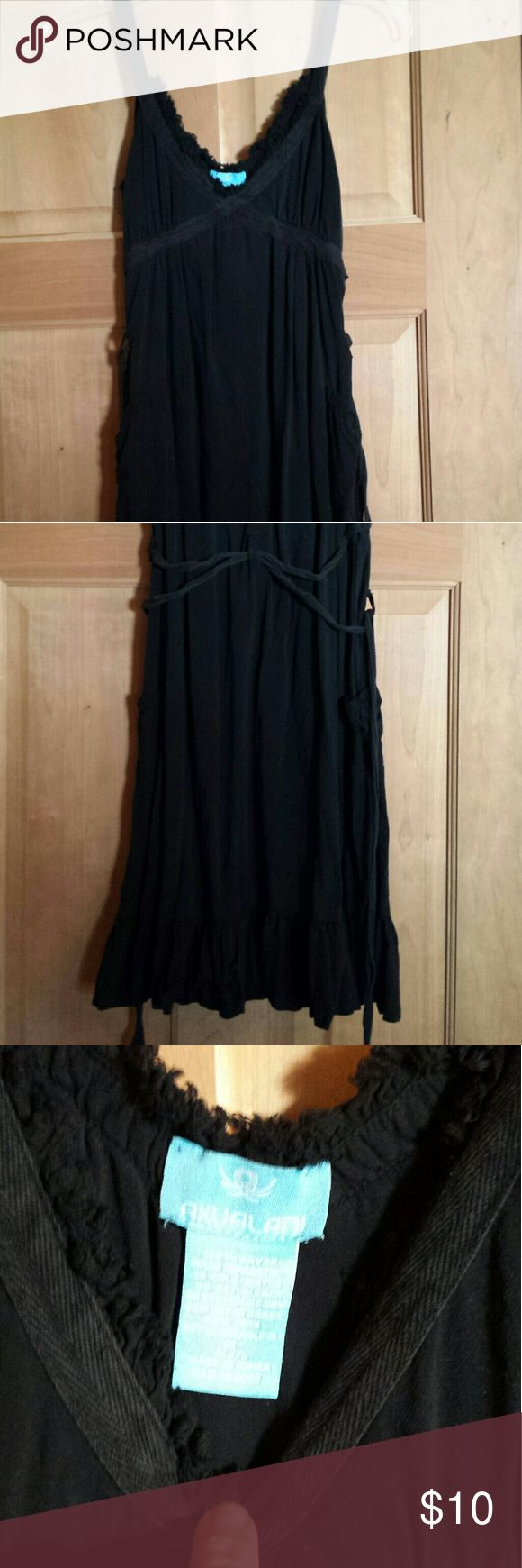 Akualani Black SunDress M Cotton black sundress, straps, criss-cross waist in back. Very cute. Akualani Dresses Mini