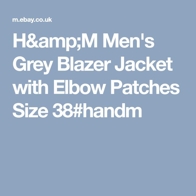 H&M Men's Grey Blazer Jacket with Elbow Patches Size 38#handm