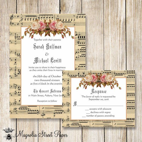 Music Wedding Invitation, Music Sheet Wedding Invite, Printable Vintage Music Sheet Wedding Suite, Music Sheet and Vintage Roses Wedding