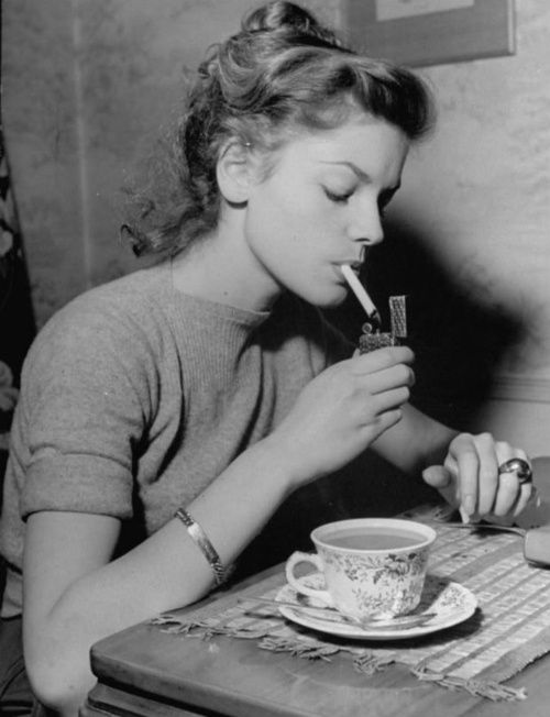 Lauren Bacall - How They Used To Drink Tea Baby Girl | Icon Smoking Cool Tea Rebel Vintage Photography Actress |