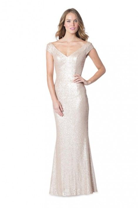 Bari Jay 1617 Sequin Fit and Flare Bridesmaid Gown