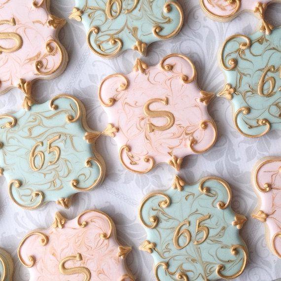 Elegant Pink & Gold Marbled Monogram Cookies by thesweetesttiers