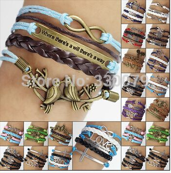 1000 Hot Fashion Jewelry Vintage Braided Anchors Rudder Metal Leather Bracelet Multilayer Rope Wrap Bracelets Wholesale Bangle