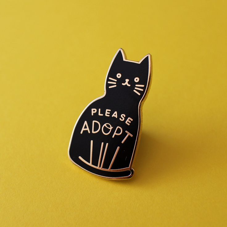 """A little homage to all the black cats in the world, who have the lowest adoption and highest euthanasia rate. 20% of sales will be donated to SPCA! Gold plated enamel pin with rubber clasp in the back. 1.25"""" tall x 0.75"""" wide."""