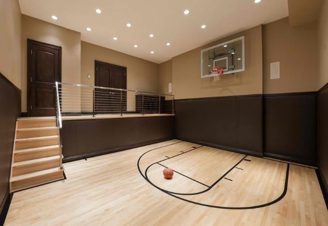 17 best ideas about home gyms on pinterest home gym for Basement sport court