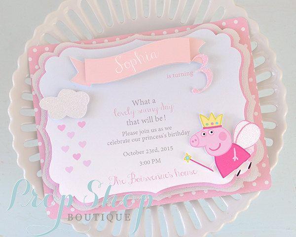 Peppa Pig Shabby Chic cumpleaños invitaciones por propshopboutique