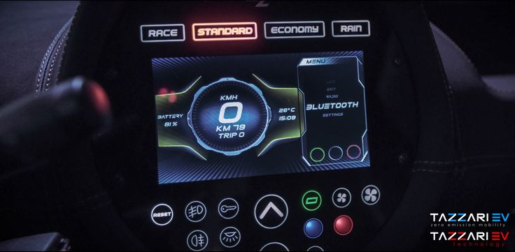 """New NEXT GEN ZERO 7"""" Touch Panel Tazzari EV's Next Generation 2017 range is renewed not only for what concerns frame and design, but also in new CAN-Bus management and control electronics. The new man-machine interface is a dynamic capacitive instrument cluster, designed and developed on a large 7"""" multifunction display where everything is integrated: Radio receiver, handsfree phone, bluetooth connection for your music and the audio share of your smartphone built-in navigation feature, all…"""