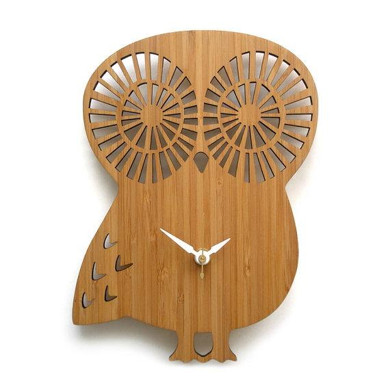 Owl ClockDecor, Owlclock, Owls Wall, Baby Owls, Owls Clocks, Wall Clocks, Bamboo Clocks, Products, Modern Owls