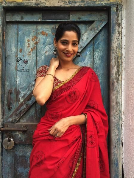 Red Bull Hand Block Printed Mul Cotton Saree