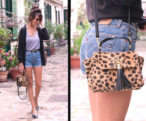 the leopard print bag is a great accessory for this summertime look