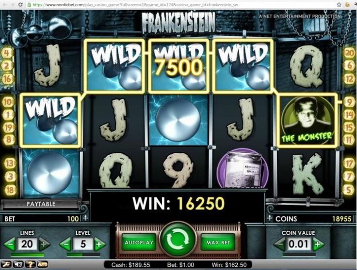 Frankenstein slot (Net Entertainment slot) Nice win with random wilds! If You like to see more jackpot pictures, free games videos or read our casino reviews,forum or blog visit here: http://bigwinpictures.com
