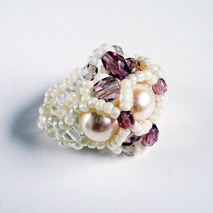 pearl ring seed bead ring seed bead jewelry by koralikowyraj