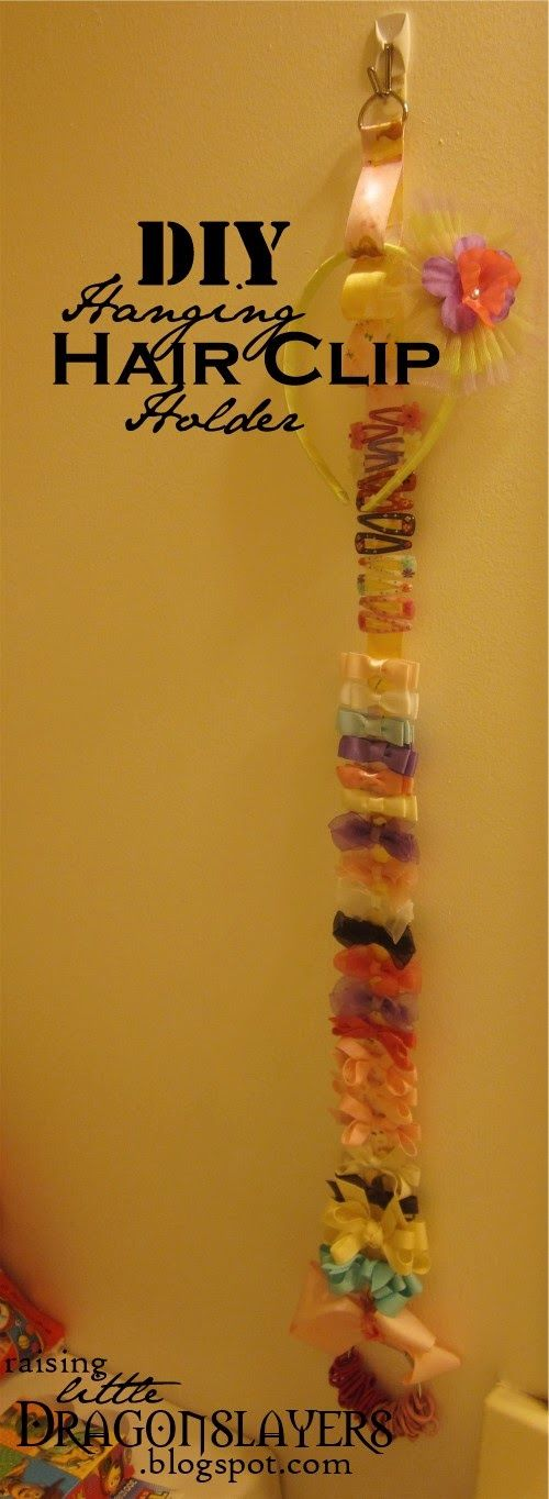 DIY Hanging Hair Clip Holder: for clips, headbands, and ponytail elastics.