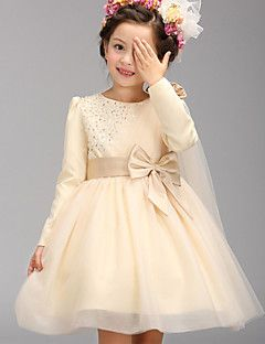 A-line Knee-length Flower Girl Dress - Cotton / Tulle / Polyester Long Sleeve