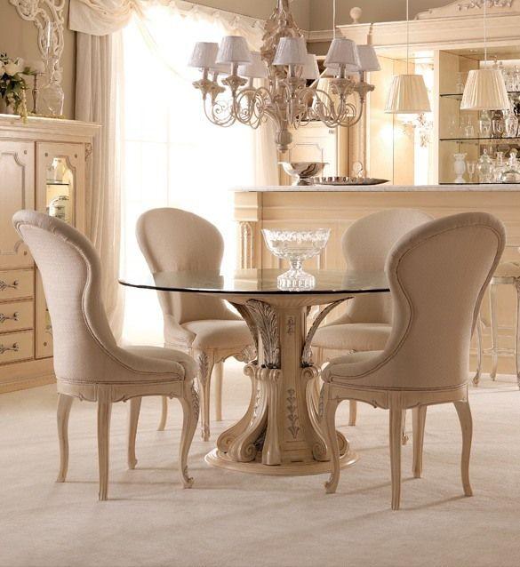 Opulent Italian round glass dining table set